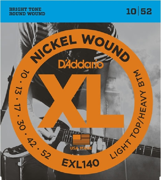 D'Addario EXL140 Light Top/Heavy Bottom / 010-052 .010 Electric Guitar String Sets
